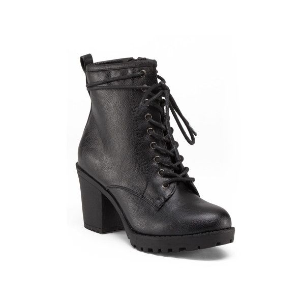 Lace Up High Heel Combat Boots (£20) ❤ liked on Polyvore featuring shoes, boots, ankle booties, high heel booties, lace up ankle booties, lace-up ankle booties, lace-up booties and lace up boots