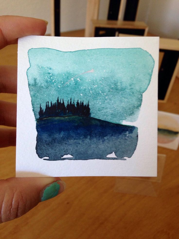 New 100 Wishes Watercolor Mini Paintings 41 45 Moon Rises