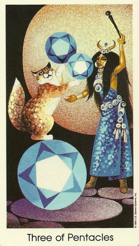 "Tarot "" cat people "" - Trois de Deniers"
