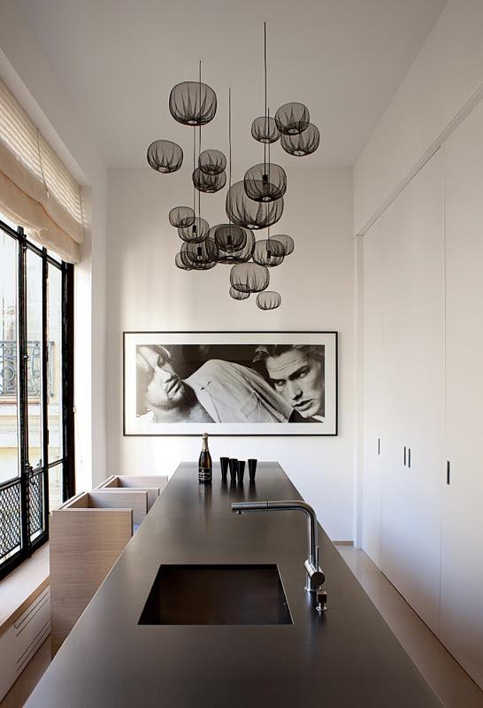 Nendo lights | kitchen design by Pierre Yovanovitch | Photo: Sam Samore