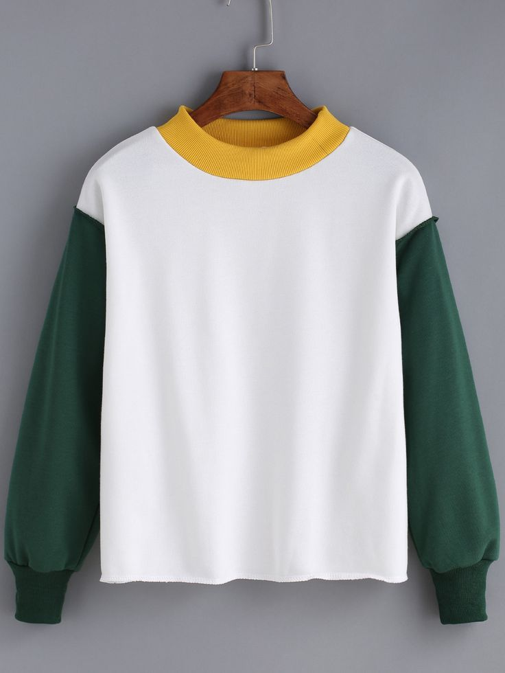 13 cute sweatshirt fall outfit for teens - color-block loose sweatshirt .Add color and warm for your trip time !