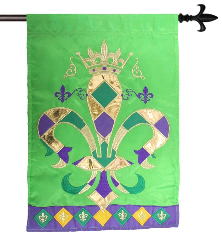This Mardi Gras Style Flag Features A Regal Embroidered Gold Crown Atop A  Beautifully Embroidered Applique Metallic Gold Fleur De Lis.