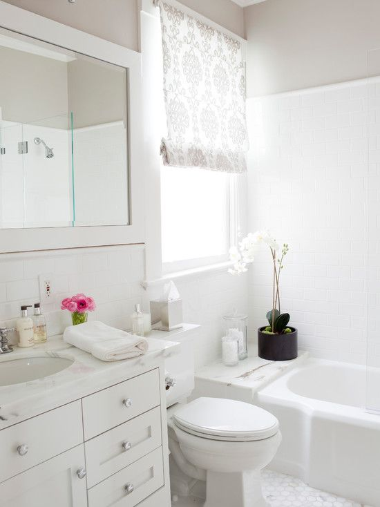 White Subway bathrooms - white bathroom vanity, marble counters, marble countertops, marble vanity countertops, oval undermount s...