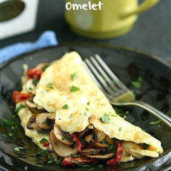 Easy Mushroom Sun Dried Tomato Omelet