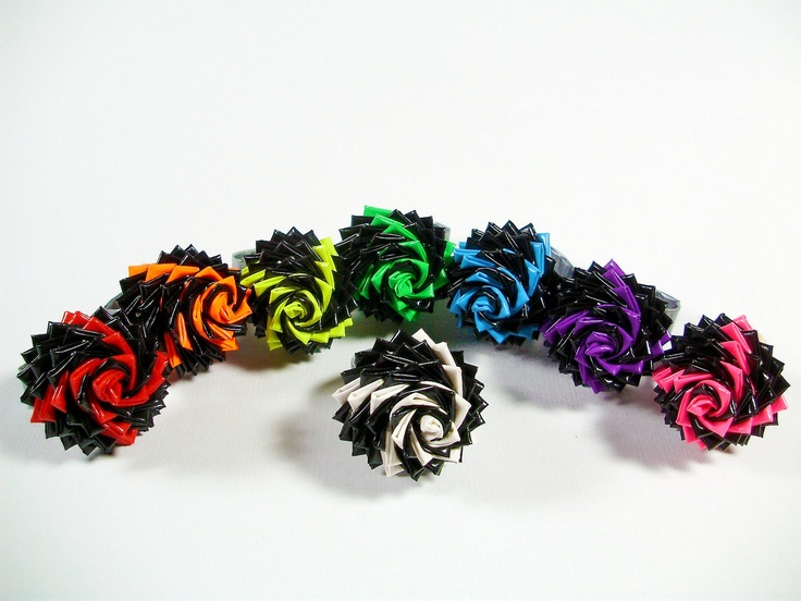 Fireworks Duct Tape Rose Ring - Black and Neon Duck Tape Flower Ring