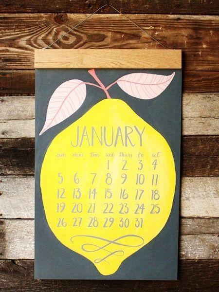 2014 Oversized Wall Calendar HUGE with wood hanger