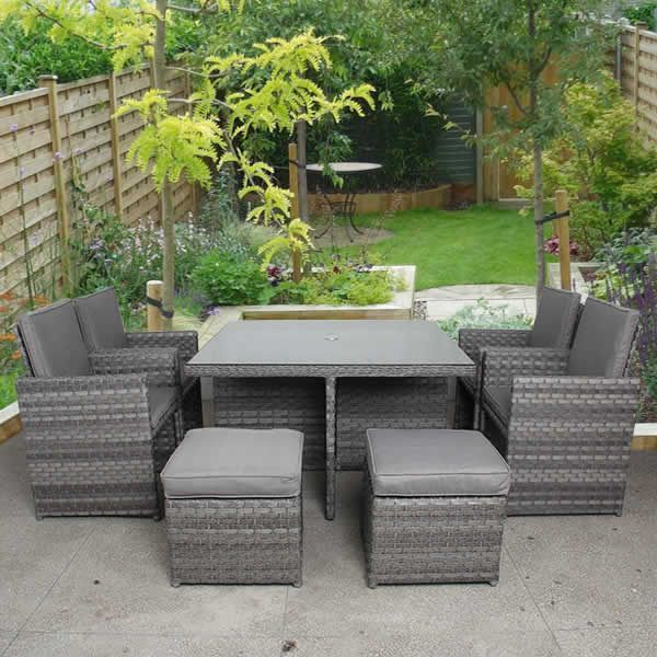 4 Seater Grey Cube Rattan Furniture Set Rattan Furniture Set Outdoor Furniture Sets Rattan Furniture