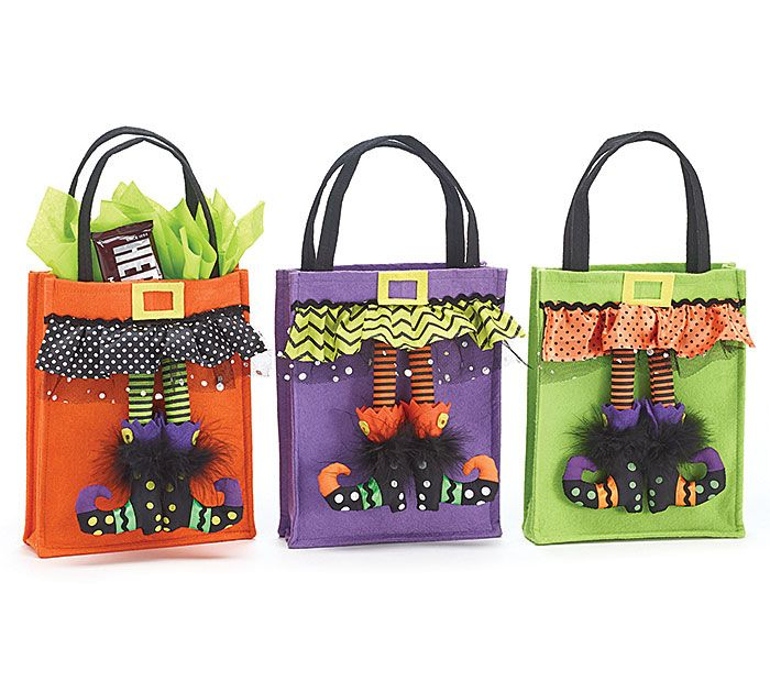 Fill your bags with candy on Halloween with our witch leg felt bags! #burtonandburton