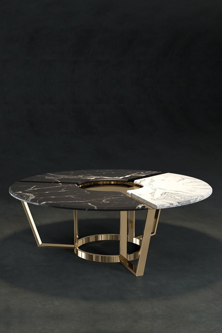 A Striking Feature Base Structure Formed In Brass And Shown Here In A Polished 24 Carat Gold Fin Coffee Table Luxury Furniture Living Room Marble Coffee Table [ 1102 x 735 Pixel ]