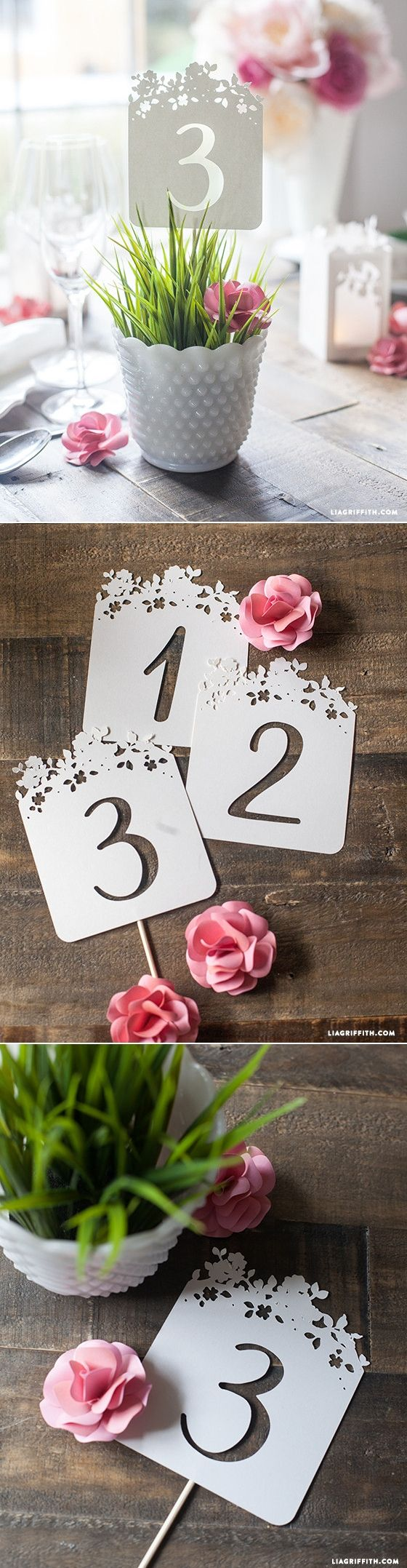 DIY Wedding Table Numbers. More DIY Wedding Ideas at www.LiaGriffith.com