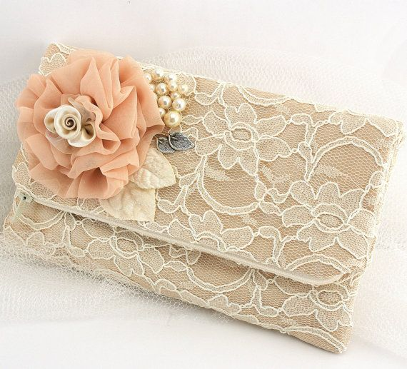 Bridal Lace Clutch in Champagne Ivory and Blush with by SolBijou, $85.00