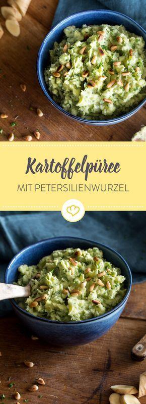 Verpass cremigem Kartoffelpüree eine neue Geschmacksnote: Mit geballter Kräuterpower und Petersilienwurzel wird's nicht nur grüner, sondern auch würziger.