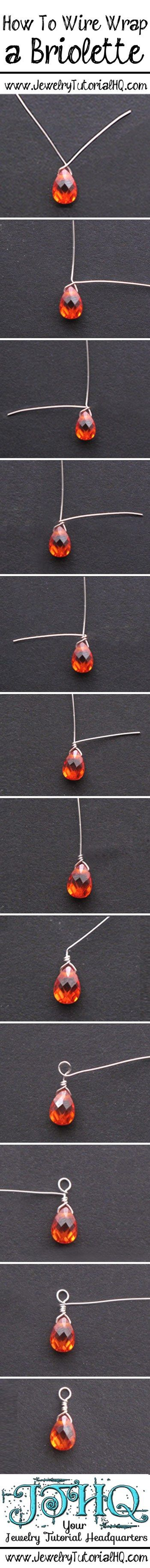 how to wire wrap a briolette step by step