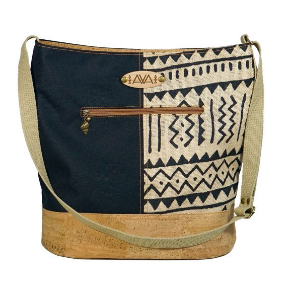 Pakeke Bag Tribal Burlap Vegan Certified Cork by SewDaKine