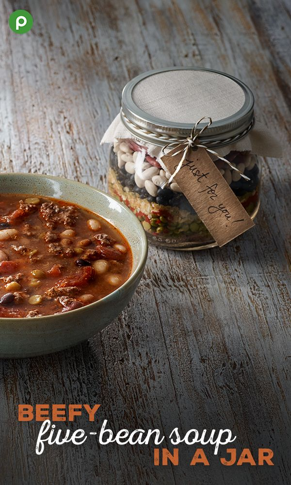 Recipes in a jar are crowd-pleasing gifts—and this one is also health-conscious. They're easy and fun to make with a recipe card and bow. Simply layer your ingredients in a mason or canning jar for easy preparation. Try our Publix Aprons Better Choice Beefy Five-Bean Soup in a Jar. #giftinajar