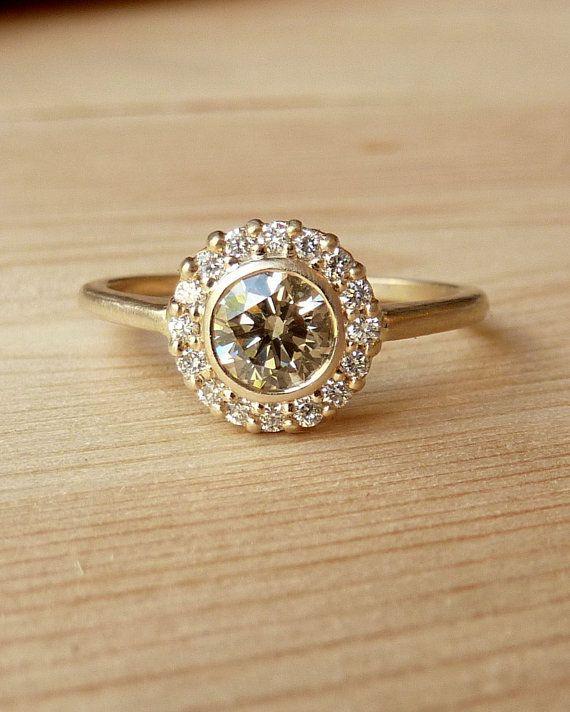 Yellow Gold Bezel Set Diamond Halo Ring by kateszabone on Etsy, $1995.00 In love!!