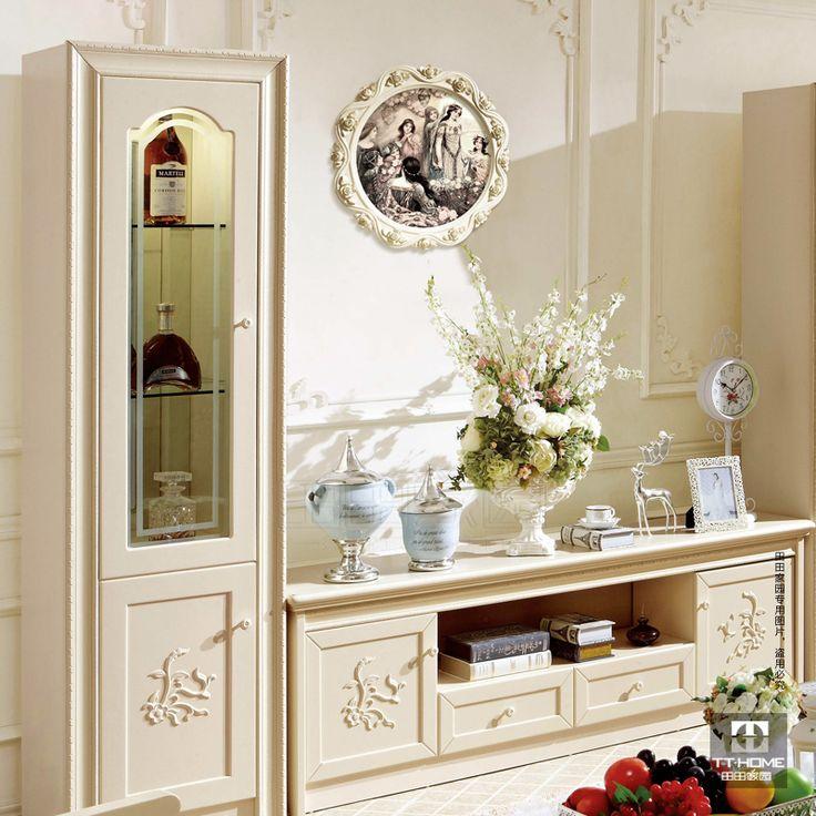 Aliexpress.com da dan deki ücretsiz kargo!!! Moda oturma odası kabine fransız çift kapılı şarap soğutucu tv kabine depolama kabini yeni