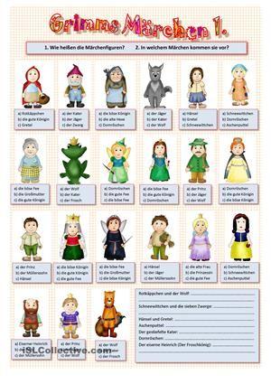 Wie heißen die Märchenfiguren? In welchem Märchen kommen sie vor? - 3 Aufgaben auf 2 Seiten (mit Lösung) - DaF Arbeitsblätter