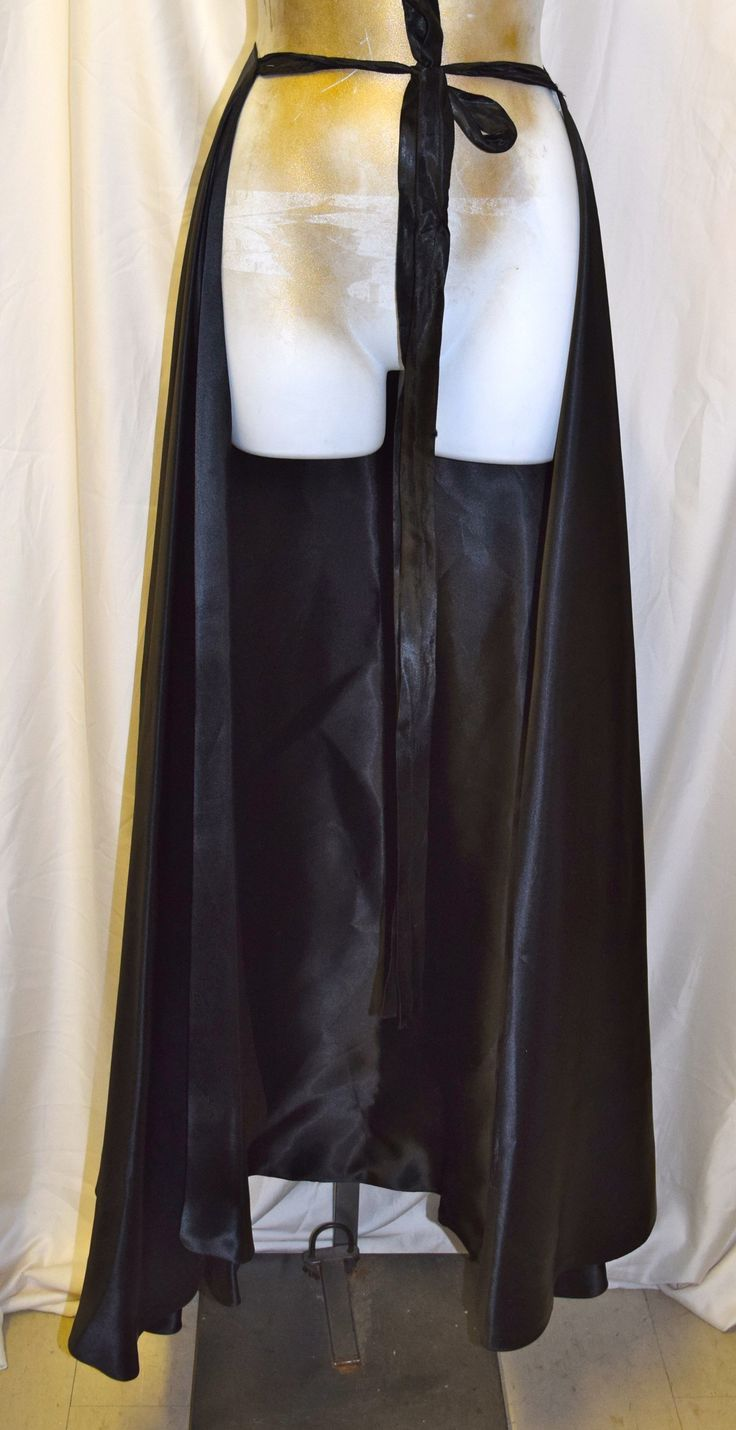 Vintage Black Satin Long Skirt Open Front