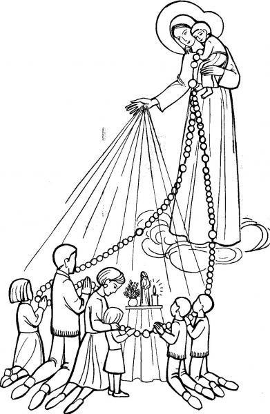 coloriage : Chapelet en famille de la Rue du Bac | Avec Marie, les enfants du monde prient pour la paix et les vocations