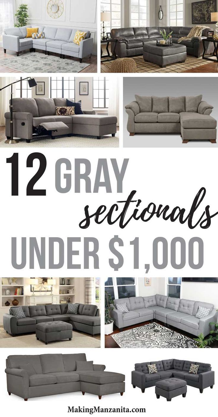12 Gray Sectionals Under $1000 | Awesome Budget Friendly Sectional Sofa Inspiration and Ideas with Pictures | Affordable Sofas that fit in small spaces with style | Contemporary design | Modern Farmhouse living room with grey couches | Cheap comfy sectionals with ottomans