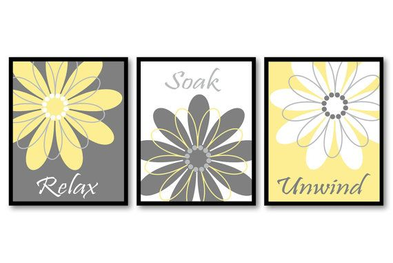 Yellow Grey Gray White Daisy Flower Print Set of 3 Relax Soak Unwind Art Print Wall Decor  Text can be changed eg: - Enjoy Every Moment - Refresh
