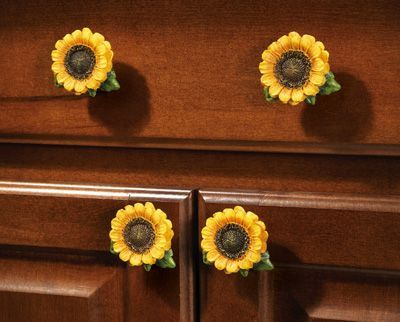 6 Pc. Sunflower Country Kitchen Drawer Pulls... Gasp changing my theme to sunflowers in the kitchen!!!!! I need theseeeee