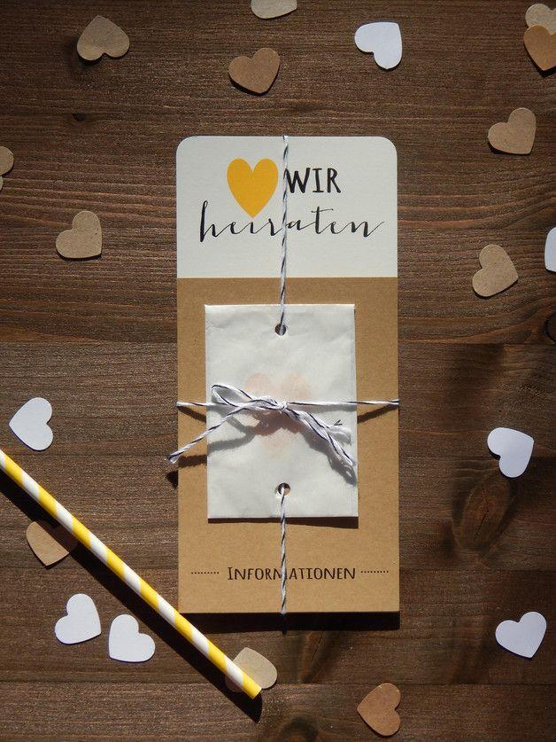 Moderne und schlichte Hochzeitseinladung mit Konfetti / simple but chic wedding invitation, with confetti by Mit herzlichem Gruß via DaWanda.com