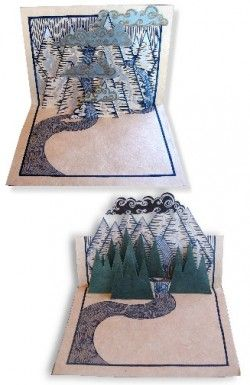 Pop up mountain scene card, handmade in Nepal
