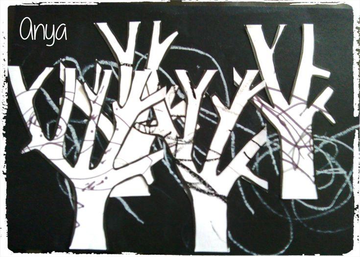 paysage d'hiver, foret sous la neige, bricolage enfants, contraste noir et blanc, art enfant
