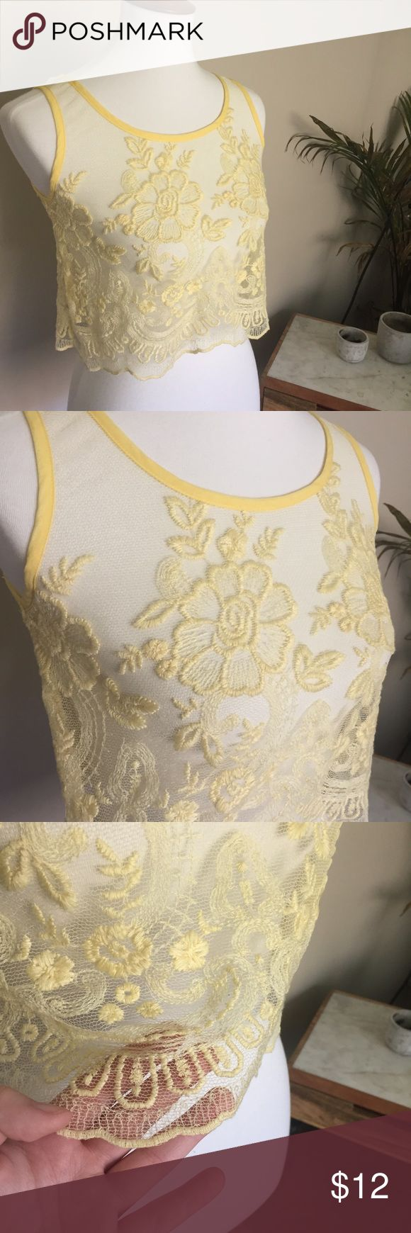 "Pastel Yellow Lace Crop Top Measurements:  Bust: 36"" Waist: 37"" Length: 17""  Details: No tags. This would be cute to layer or as a lingerie/sleep/swimwear top.  Fabric: No tags.  Follow our store on Facebook, Twitter, Etsy and Instagram: @wingdingpop #AB Unknown Tops Crop Tops"
