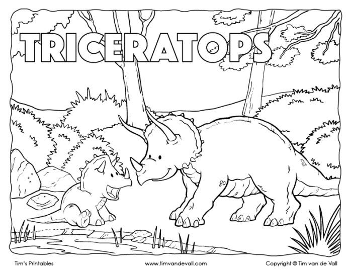 Triceratops Coloring Page A Mother Triceratops With Her Young Coloring Pages Preschool Coloring Pages Dinosaur Coloring Pages