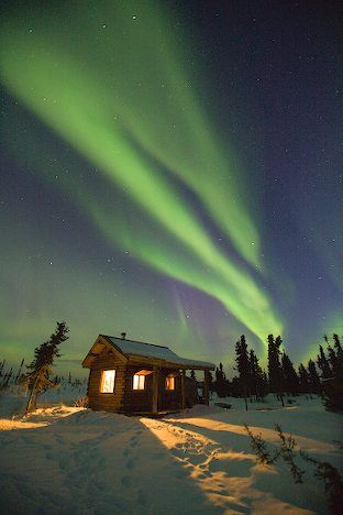 Northern Lights Blaze Over Little Cabin Fairbanks