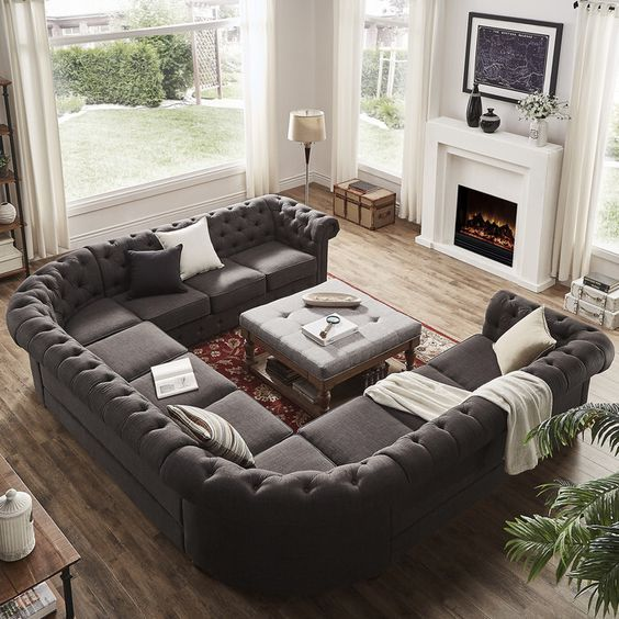 Large U Sectional Sofas: Best 25+ Farmhouse Sofas And Sectionals Ideas On Pinterest