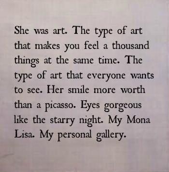 she is art.