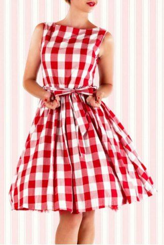 Sweet Red Grid Printed Bowknot Lace-Up Ball Dress For WomenVintage Dresses   RoseGal.com