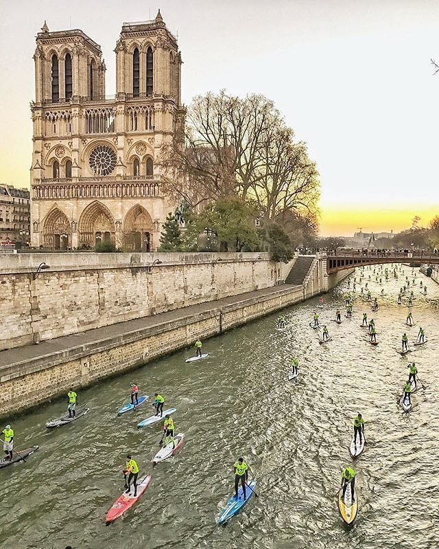 Paddle boarding down the Seine- only in France!