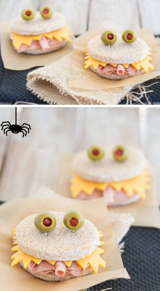 Monster Sandwiches | 20+ Easy to Make Halloween Snacks for Kids
