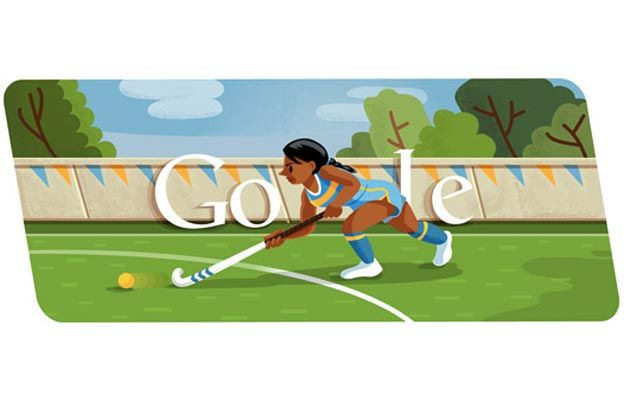 London 2012 hockey doodle: The doodle features a female player, holding a hook-shaped stick, playing on a hockey pitch.