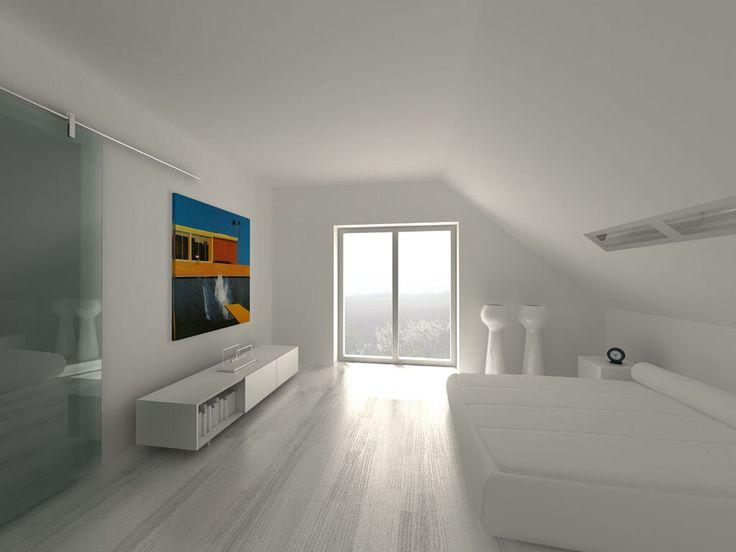 Projekt  dom jednorodzinny pod Warszawą wnętrze sypialni master bedroom