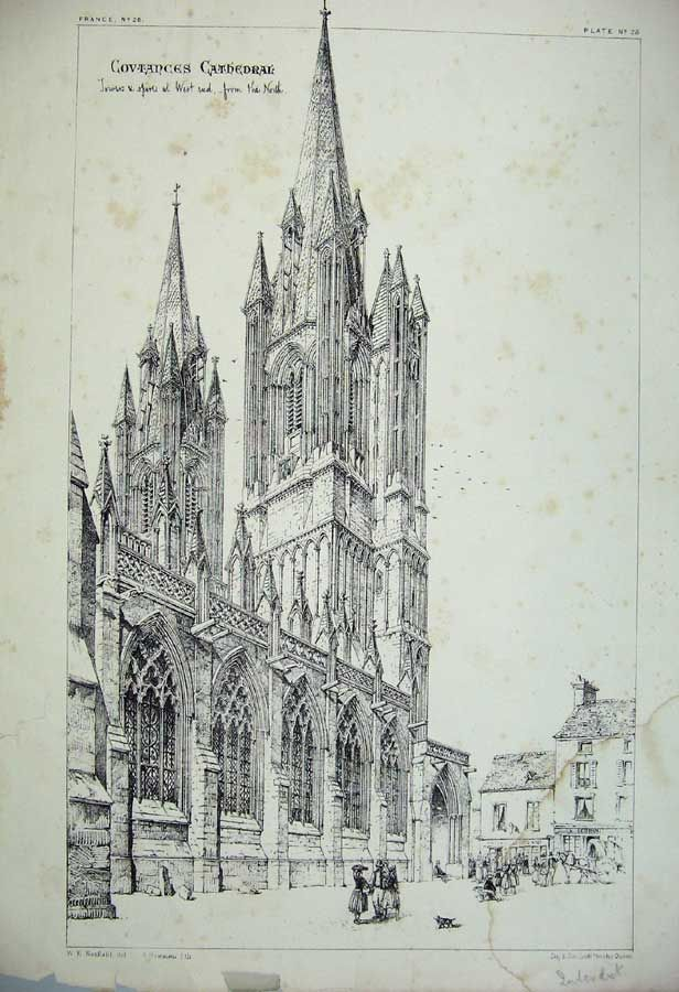 Print Covtances Cathedral Towers Spires France Architecture