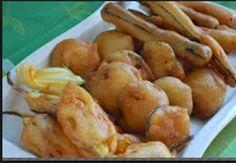 La pastella per la tempura: 150 g di farina, 150 g di fecola, 100 g di acqua, 100 g di birra, 2 cipolle piatte, 1 finocchio, 100 g di funghi champignon, 1 radicchio trevisano.