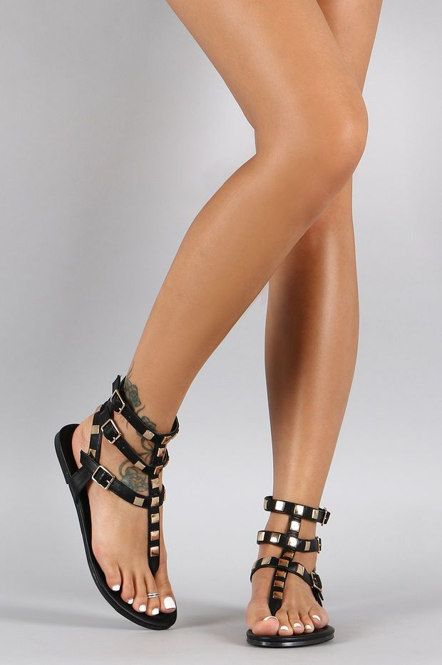 806cb4818598 Shoe Republic LA Metallic Studded Gladiator Flat Sandal