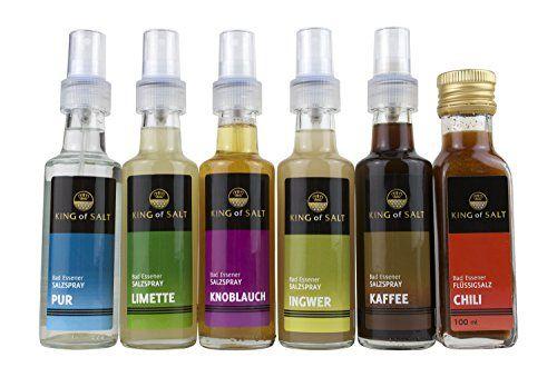 Das Set Salzspray für Hobbyköche besteht aus den Geschmacksrichtungen Limette, Ingwer, Knoblauch, Kaffee und Chili. Ideal zum Würzen und Nachwürzen.