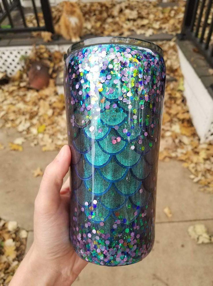 Mermaid Scales And Glitter Epoxy Tumblers Tumbler