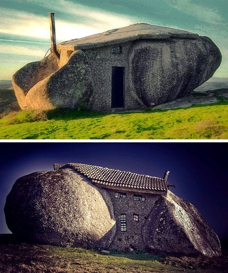 Boulder and stone house, Portugal.: Flintstones Tiny, Boulder House Portugal, House Building, Architecture, Dream Houses, Unusual Houses, Boulder Houses, Stone Houses