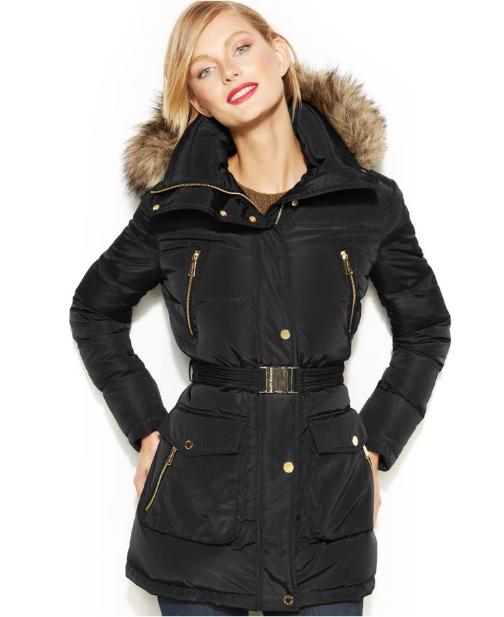 Michael Michael Kors Hooded Faux-Fur-Trim Down Puffer Coat -7919
