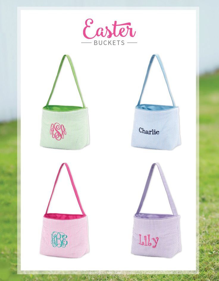Best 25 monogrammed easter baskets ideas on pinterest monogram easter baskets easter buckets kids baskets initials easter baskets seersucker easter buckets personalized basket gift by negle Images