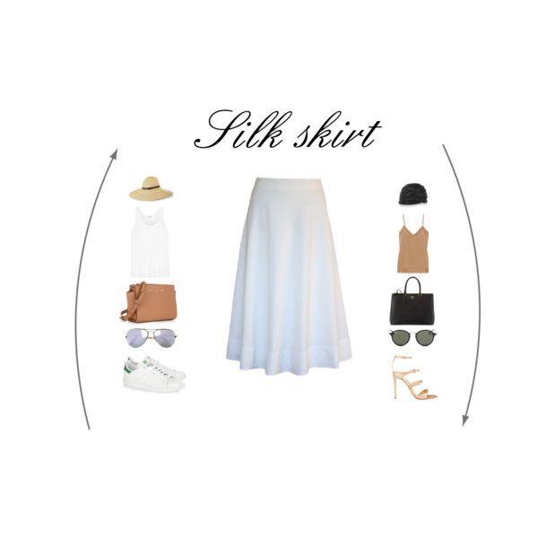 White skirt - Casual vs. Glamorous featuring By Malene Birger, Splendid, Gianvito Rossi, adidas Originals, Prada, Philip Treacy, Yves Saint Laurent and Ray-Ban