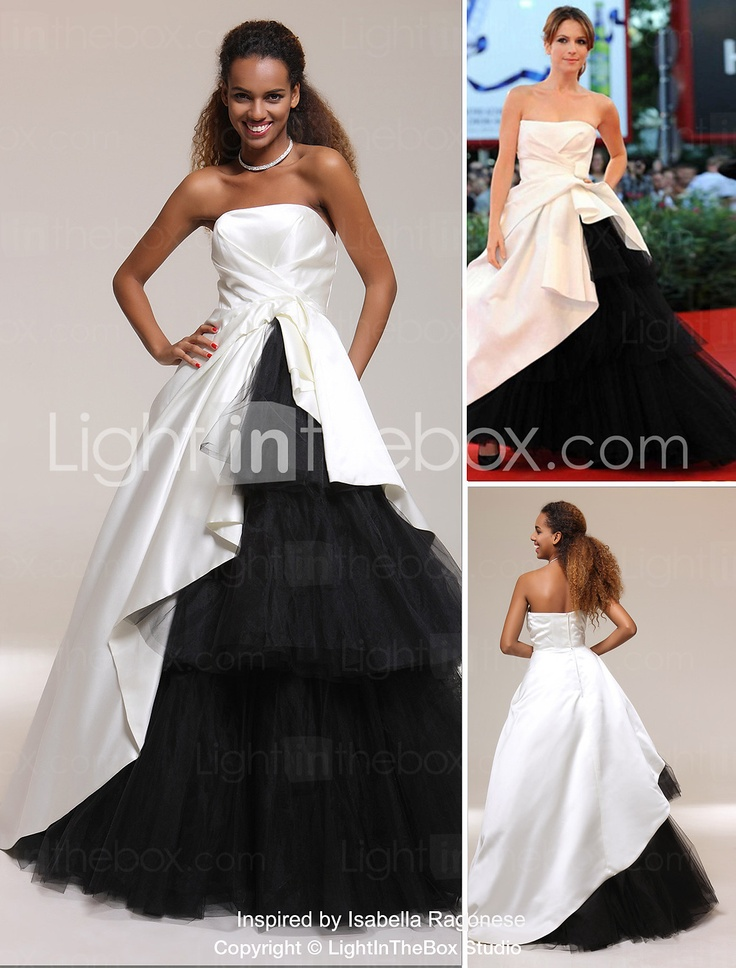 Satin Tulle A-line Strapless Floor-length Evening/ Prom Dress inspired by Isabella Ragonese - USD $ 197.99